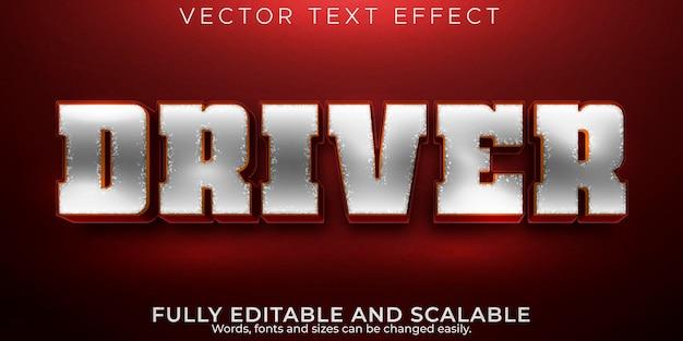Efeito de texto do motorista, estilo de texto editável de motocicleta e motociclista