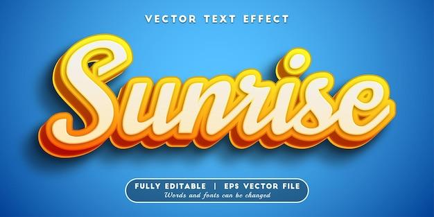 Efeito de texto do nascer do sol com estilo de texto editável