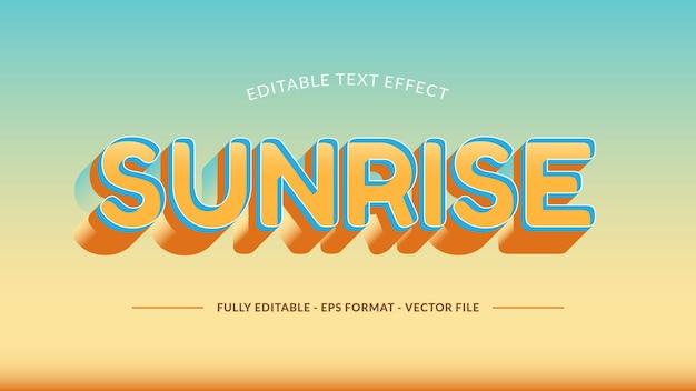 Efeito de texto do nascer do sol feito com tons quentes e aconchegantes