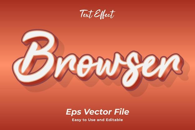 Efeito de texto do navegador editável e fácil de usar vetor premium