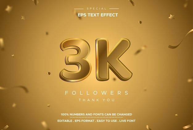 Efeito de texto do número do seguidor com cor dourada