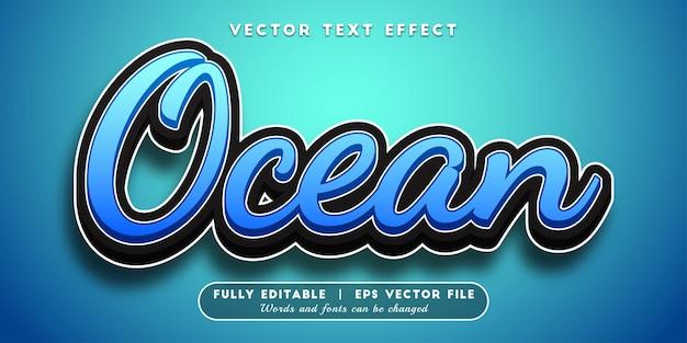Efeito de texto do oceano com estilo de texto editável