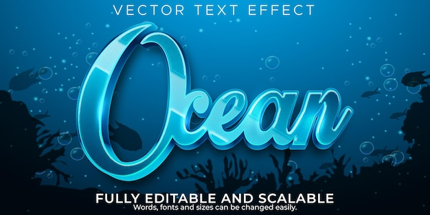 Efeito de texto do oceano, estilo de texto editável do mar e da água