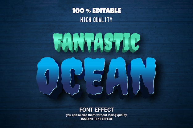 Efeito de texto do oceano, fonte editável