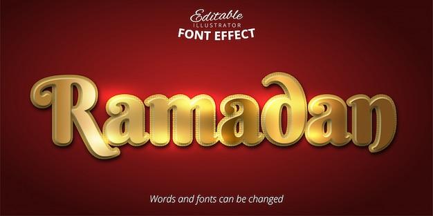Efeito de texto do ramadã, estilo alfabeto ouro brilhante