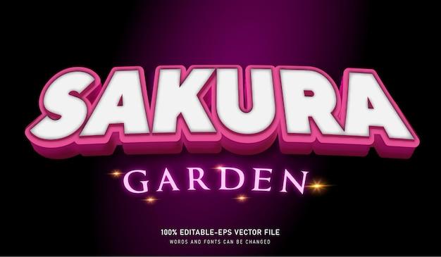 Efeito de texto do sakura garden e fonte editável