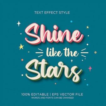 Efeito de texto do shine stars