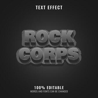 Efeito de texto do título do logotipo do jogo 3d fantasia rock corps