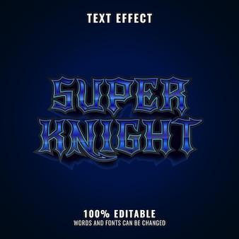 Efeito de texto do título do logotipo do jogo de diamante azul fantasia de super cavaleiro