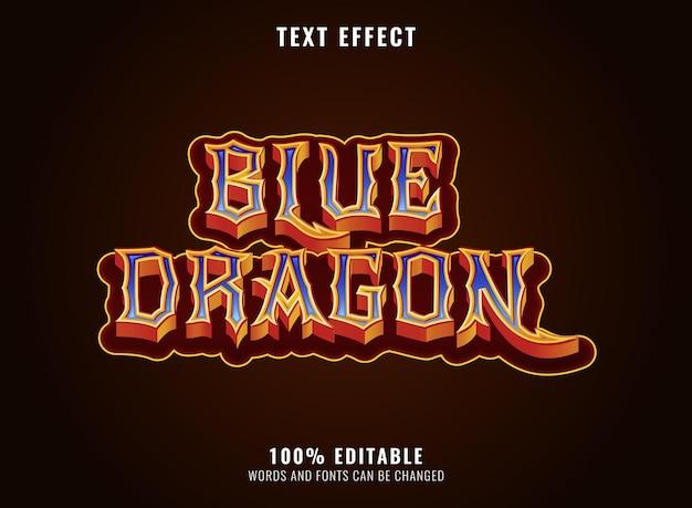 Efeito de texto do título do logotipo do jogo de rpg de fantasia de dragão de diamante dourado azul