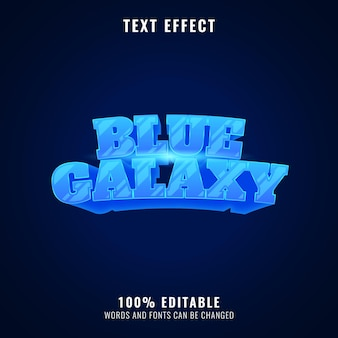 Efeito de texto do título do logotipo do jogo do espaço brilhante de fantasia de galáxia azul