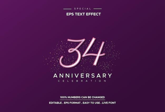 Efeito de texto do trigésimo quarto aniversário em fundo roxo