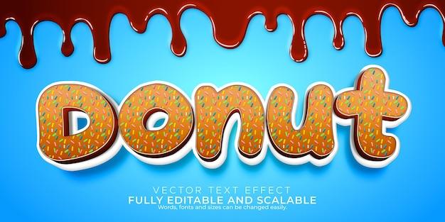 Efeito de texto doce donut; sobremesa editável e estilo de texto de bolo