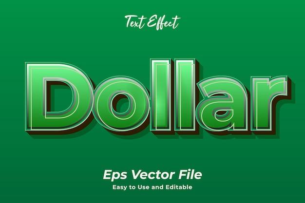 Efeito de texto dólar simples de usar e editar vetor de alta qualidade