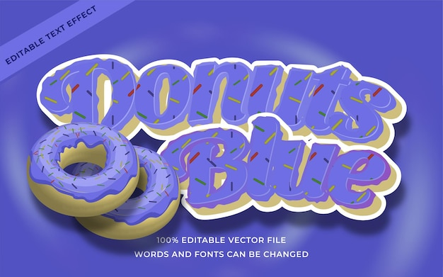 Efeito de texto donuts azul editável para ilustrador