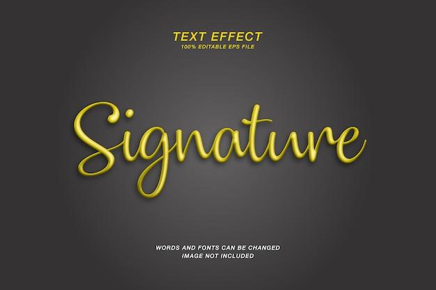 Efeito de texto dourado 3d de assinatura