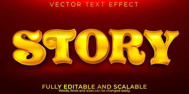 Efeito de texto dourado da história, magia editável e estilo de texto brilhante