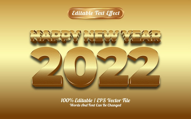 Efeito de texto dourado de luxo de feliz ano novo de 2022