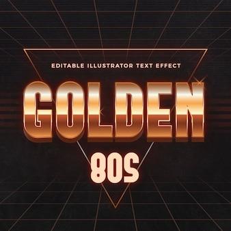 Efeito de texto dourado dos anos 80