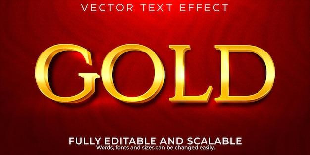 Efeito de texto dourado editável metálico e estilo de texto brilhante