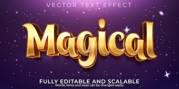Efeito de texto dourado mágico, estilo de texto de conto de fadas editável