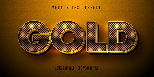 Efeito de texto dourado metálico, estilo alfabeto dourado brilhante