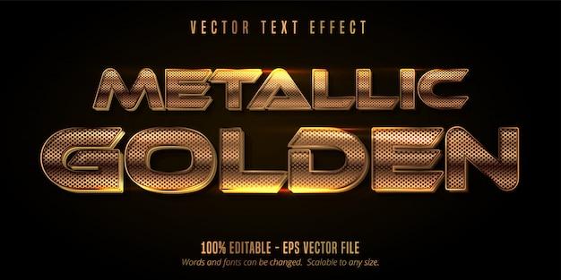 Efeito de texto dourado metálico, estilo alfabeto ouro brilhante