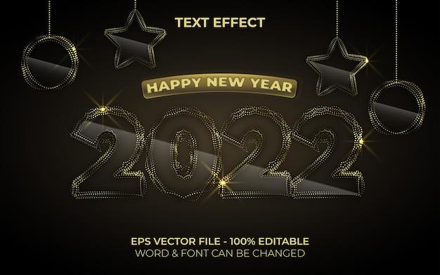 Efeito de texto dourado, tema de estilo de ano novo efeito de texto editável