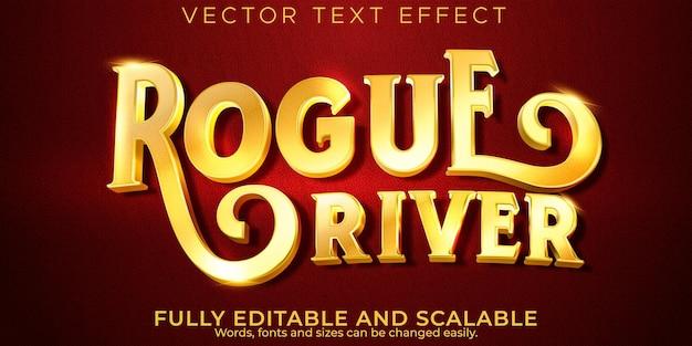 Efeito de texto dourado vintage, retro editável e estilo de texto antigo