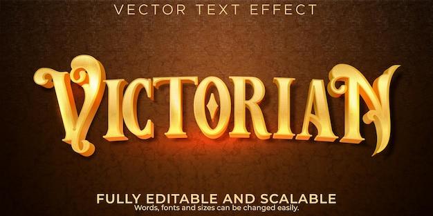Efeito de texto dourado vitoriano, estilo de texto vintage e histórico editável