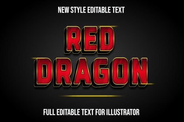 Efeito de texto dragão vermelho cor gradiente vermelho e preto