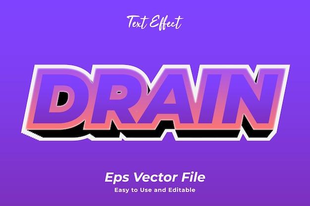 Efeito de texto dreno editável e fácil de usar premium vetor