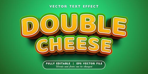 Efeito de texto duplo queijo com estilo de texto editável
