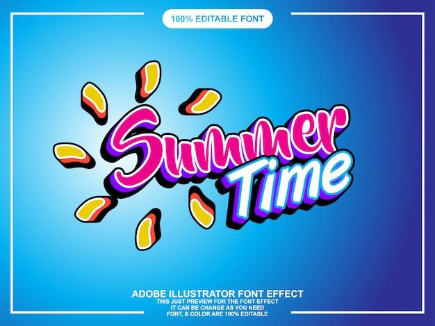 Efeito de texto editador verão moderno editável