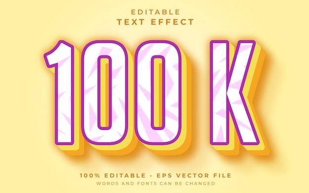 Efeito de texto editável 100 k