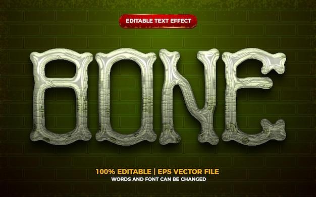 Efeito de texto editável 3d bone halloween