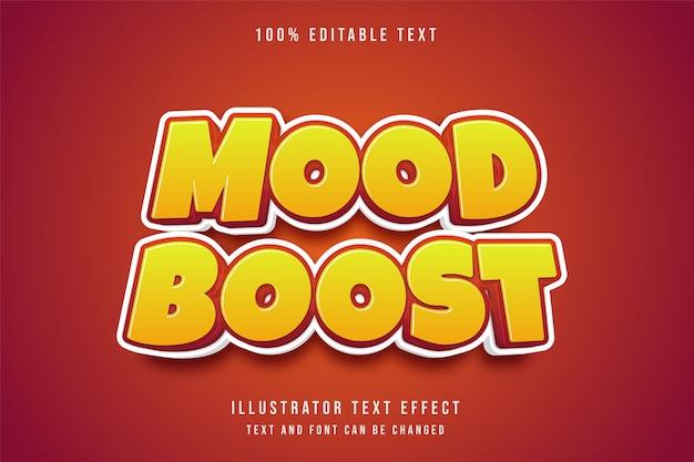 Efeito de texto editável 3d com gradação de amarelo e estilo cômico vermelho