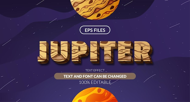 Efeito de texto editável 3d da astrologia cósmica do planeta júpiter. arquivo de vetor eps