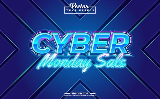 Efeito de texto editável 3d da cyber monday sale
