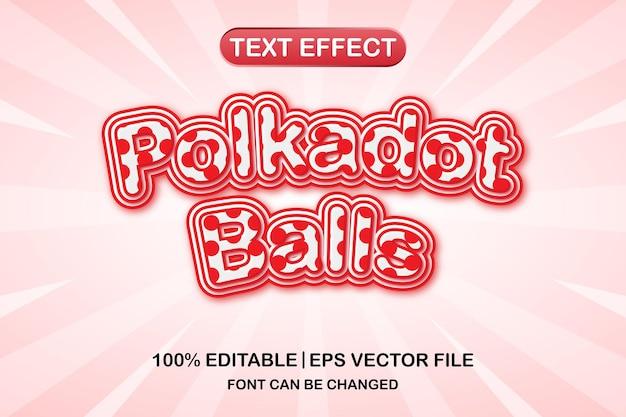 Efeito de texto editável 3d de bolas polkadot