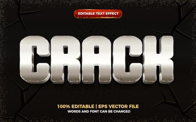 Efeito de texto editável 3d de crack grunge silver metal