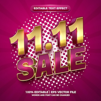 Efeito de texto editável 3d de luxo de ouro 11 11 venda brilhante