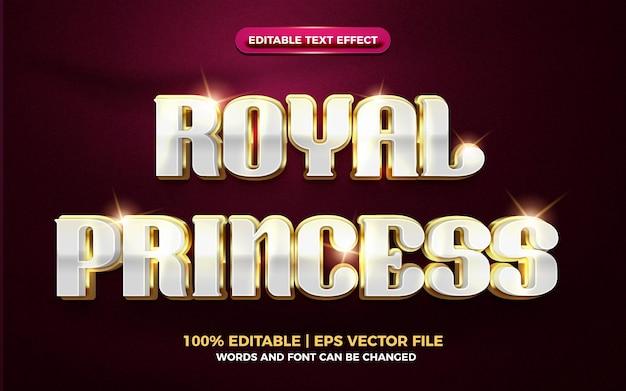 Efeito de texto editável 3d de luxo de princesa real em ouro branco