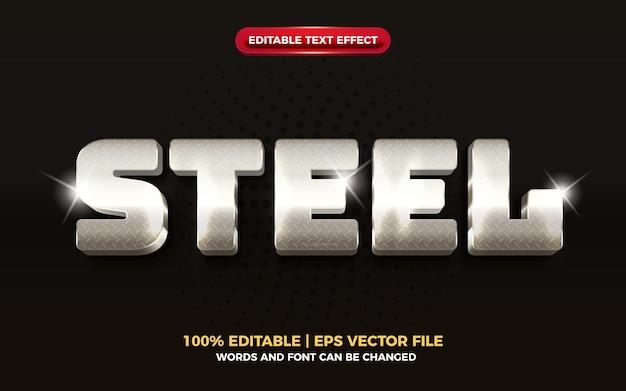 Efeito de texto editável 3d de metal de aço