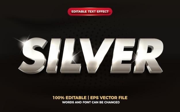 Efeito de texto editável 3d de metal prateado