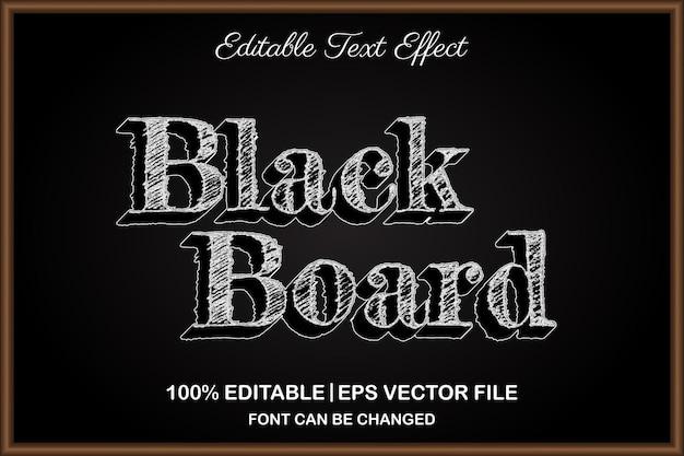 Efeito de texto editável 3d de quadro negro