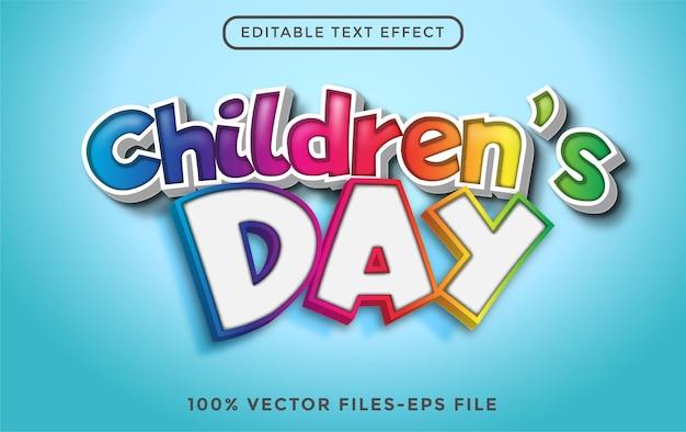 Efeito de texto editável 3d do dia mundial da criança premium vector