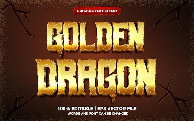 Efeito de texto editável 3d do dragão dourado