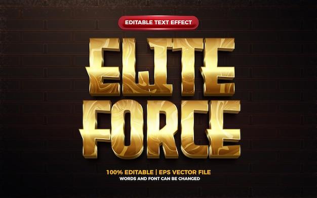 Efeito de texto editável 3d do exército da força de elite
