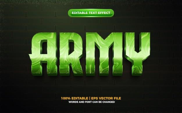 Efeito de texto editável 3d do exército forte